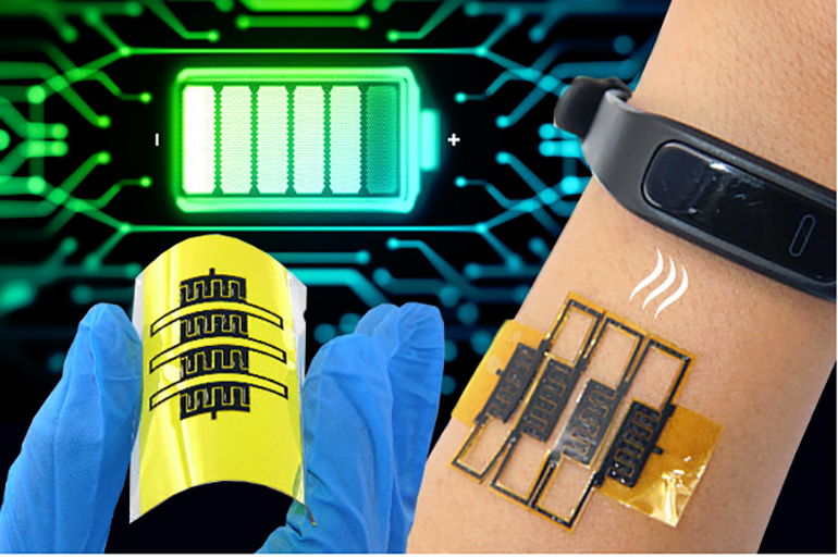 1. These micro-supercapacitor arrays (MSCAs) can provide energy storage along with flexibility and stretchability. (Source: Pennsylvania State University)